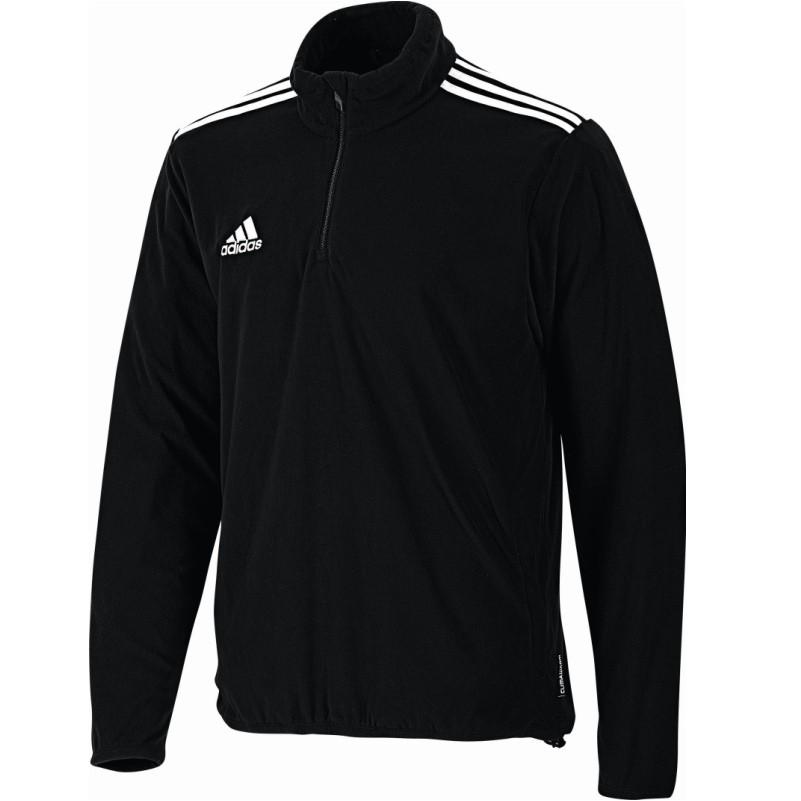 adidas Core11 Fleece Top Fleece pullover 3 Streifen mit Reißverschluß schwarz