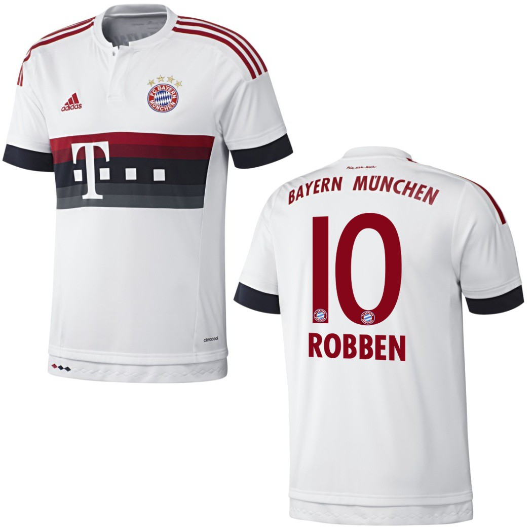 adidas fc bayern m nchen trikot away 2015 2016 wei rot. Black Bedroom Furniture Sets. Home Design Ideas