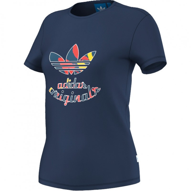 adidas originals paris slim tee t shirt damen blau mode. Black Bedroom Furniture Sets. Home Design Ideas