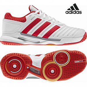 adidas adipower Stabil 10.0 W Damen Handballschuhe weiß/silber/rot