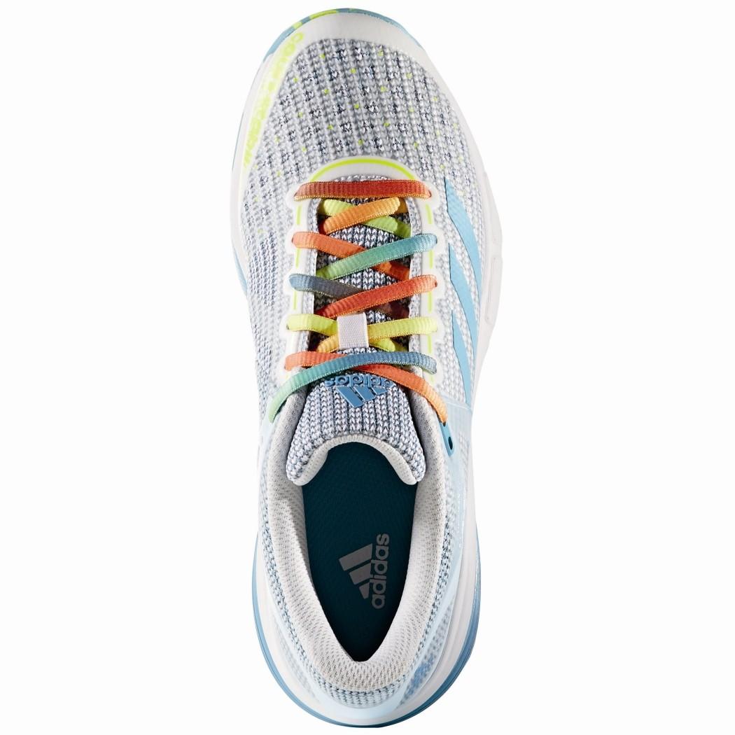 release date: ae507 0b6a8 adidas Court Stabil 13 Damen Handballschuhe weiß blau gelb – Bild 4