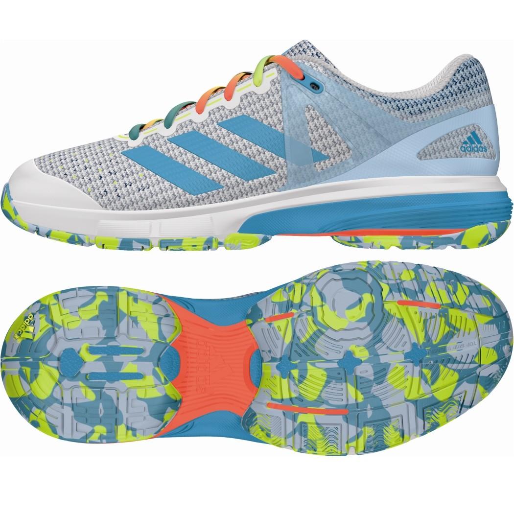 adidas Court Stabil 13 Damen Handballschuhe weiß blau gelb