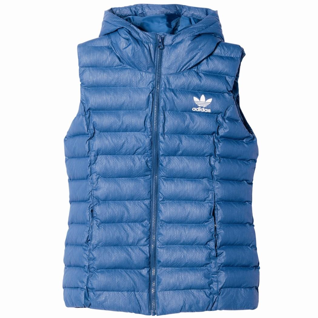 adidas Originals Slim Vest gepolsterte Damenweste Kapuze marine blau ...