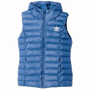 adidas Originals Slim Vest gepolsterte Damenweste Kapuze marine blau – Bild 1