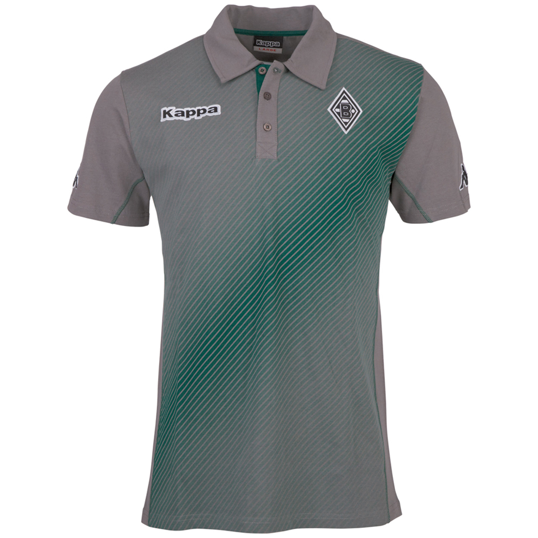 kappa borussia m nchengladbach sparetime poloshirt grau gr n fanshop bundesliga borussia. Black Bedroom Furniture Sets. Home Design Ideas