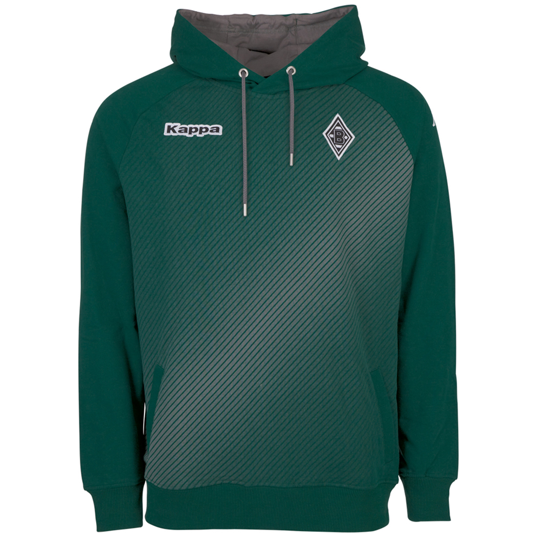 kappa borussia m nchengladbach hoodie gr n grau fanshop bundesliga borussia m nchengladbach. Black Bedroom Furniture Sets. Home Design Ideas
