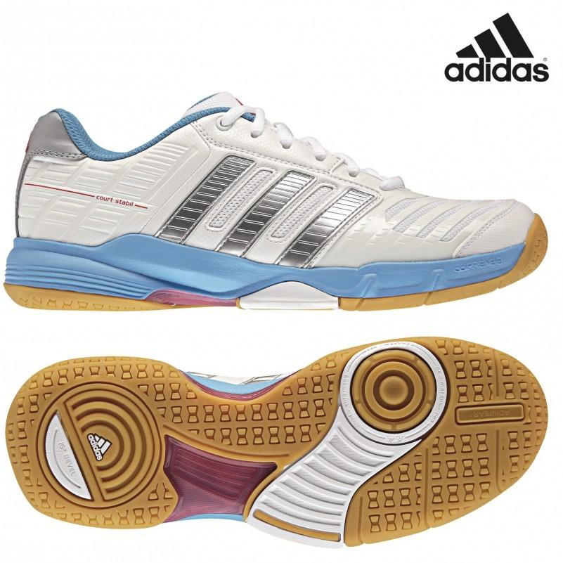 buy online 26425 db949 adidas Court Stabil 10 W Damen Indoorschuhe weiß  blau  silber