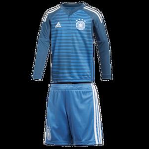 adidas DFB Deutschland Torwart Minikit Heimtrikot WM 2018 blau / weiß – Bild 1