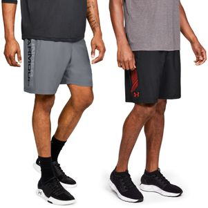 2er Pack Under Armour Woven Graphic Shorts schwarz und grau – Bild 1