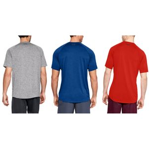 3er Pack Under Armour Tech 2.0 T-Shirt Fitness Shirt grau blau rot – Bild 2