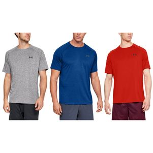 3er Pack Under Armour Tech 2.0 T-Shirt Fitness Shirt grau blau rot – Bild 1