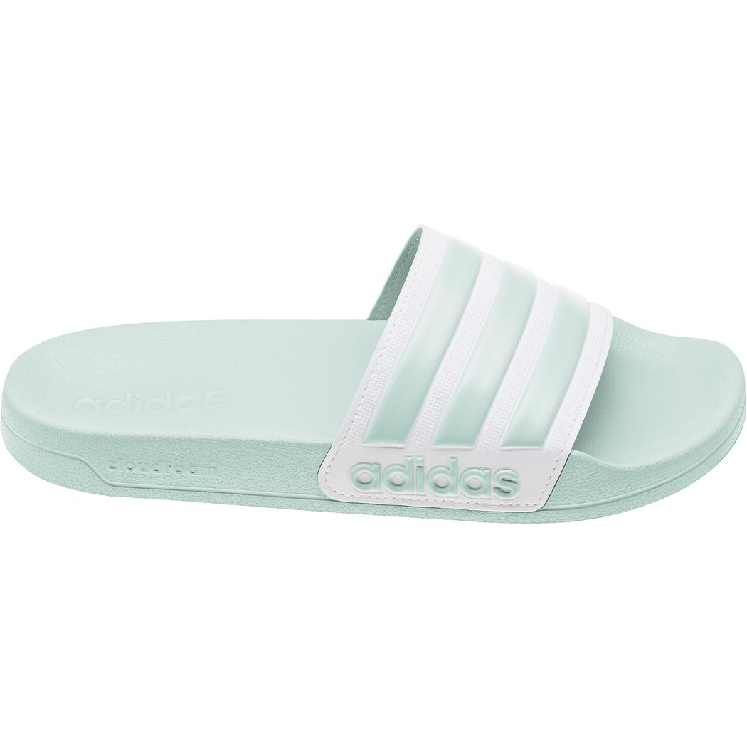 adidas adilette Cloudfoam Shower Slipper Damen grün / weiß