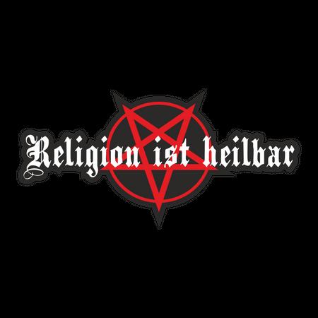 Aufkleber Religion ist heilbar Pentagramm