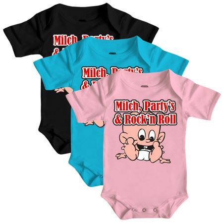 Baby Body Strampler kurz Milch, Party's & Rock'n Roll