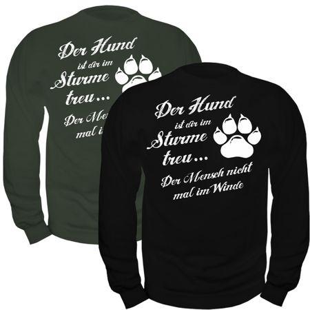 Männer Sweatshirt Der Hund ist dir im Sturme treu