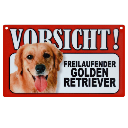 Warnschild Golden Retriever