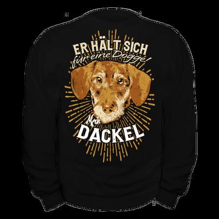 Männer Sweatshirt Dackel - Er hält sich für eine Dogge