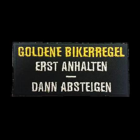 Bügel Aufnäher Goldene Bikerregel