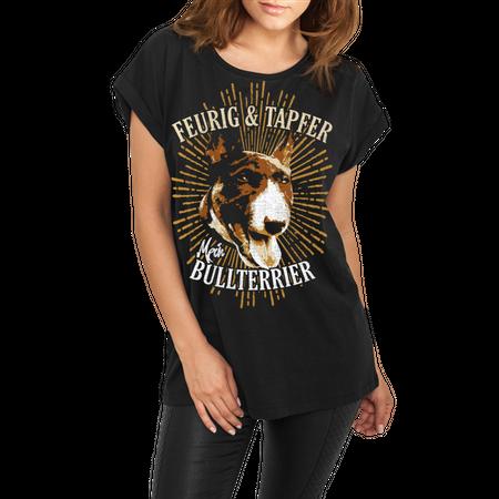 Frauen lässiges Shirt Bullterrier feurig & tapfer