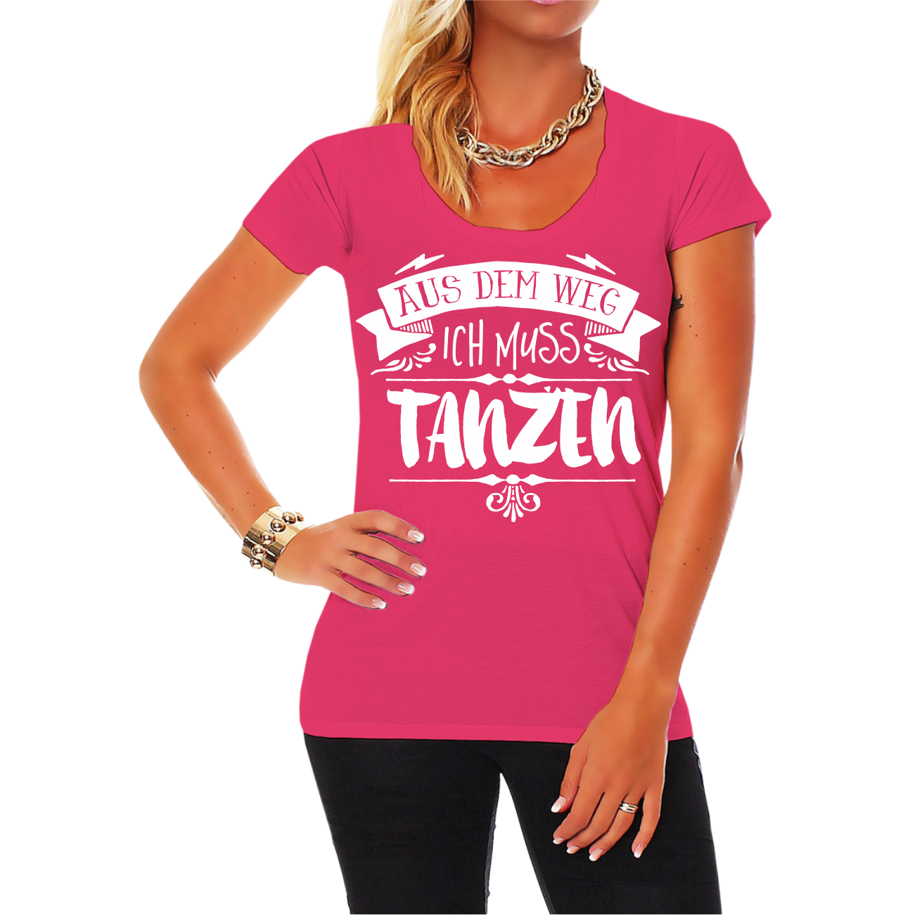 frauen m dchen damen t shirt aus dem weg ich muss tanzen spruch spr che disco ebay. Black Bedroom Furniture Sets. Home Design Ideas