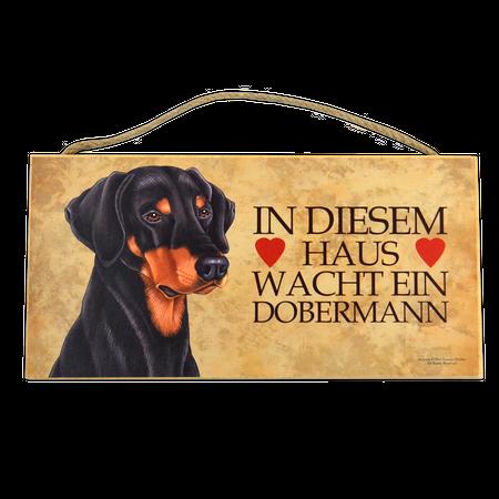 Holzschild Dobermann (In diesem Haus wacht...)