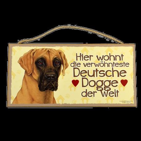 Holzschild Deutsche Dogge (Hier wohnt der verwöhnteste...)