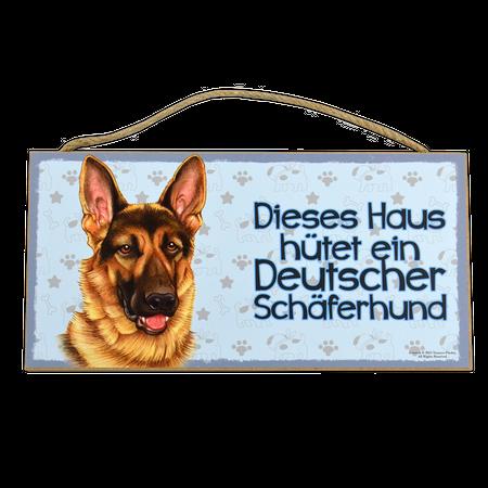 Holzschild Deutscher Schäferhund (Dieses Haus hütet ein...)