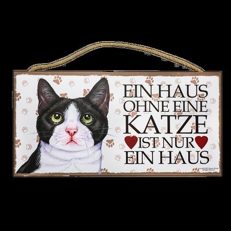 Holzschild Schwarz/weiße Katze (Ein Haus ohne...)