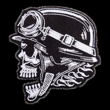 Bügel Aufnäher Totenkopf mit Helm