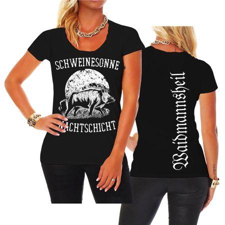 Frauen Shirt Schweinesonne