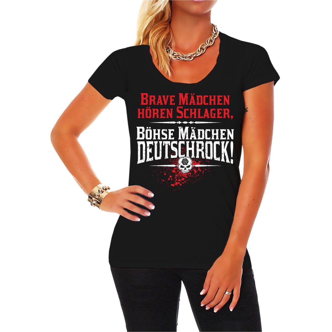 Frauen T-Shirt Brave Mädchen hören Schlager böhse Deutschrock Frei ...