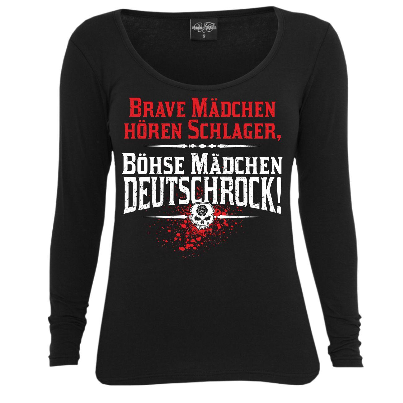 Frauen Langarm Shirt Brave Mädchen hören Schlager böhse Deutschrock ...