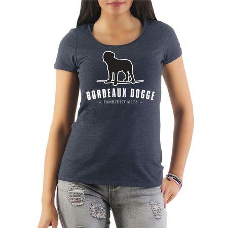 Frauen Shirt Bordeaux Dogge - Familie ist alles