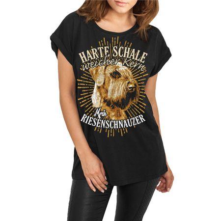 Frauen lässiges Shirt Riesenschnauzer - Harte Schale weicher Kern