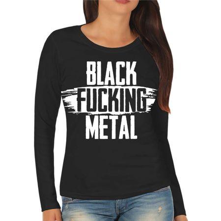 Frauen Longsleeve BLACK Fucking METAL