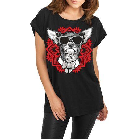 Frauen lässiges Shirt Chihuahua Mandala Art