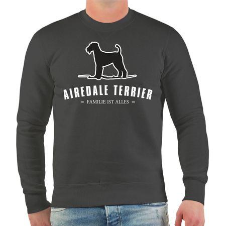 Männer Sweatshirt Airedale Terrier Silhouette