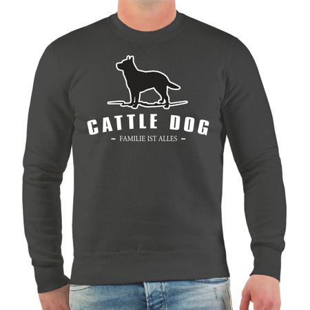 Männer Sweatshirt Cattle Dog Silhouette