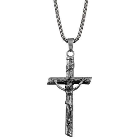 Kette mit Anhänger Jesus Kreuz SILBER Edelstahl