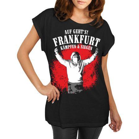Frauen lässiges Shirt Auf geht's Frankfurt - kämpfen & siegen