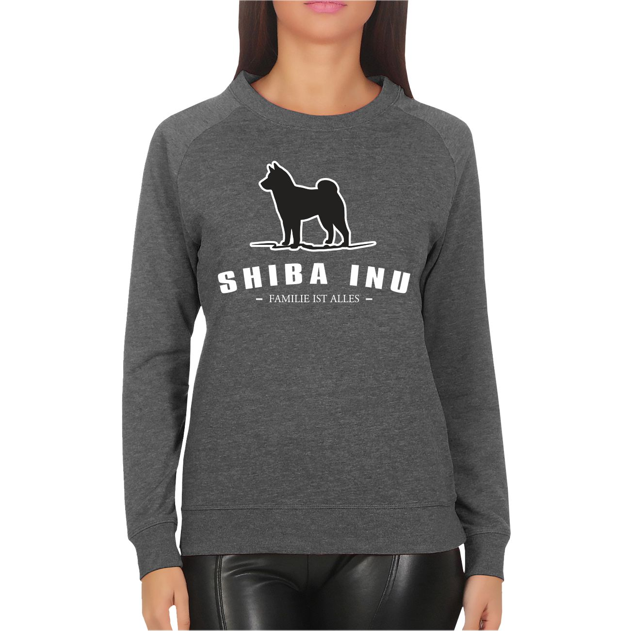 frauen sweatshirt shiba inu familie ist alles. Black Bedroom Furniture Sets. Home Design Ideas