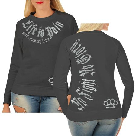 Frauen Sweatshirt Smile now Cry later (SILBER Serie)
