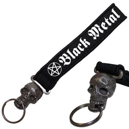 Schädel Neopren Schlüsselanhänger Black Metal