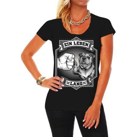 Frauen Shirt Englische Bulldogge - Ein Leben lang