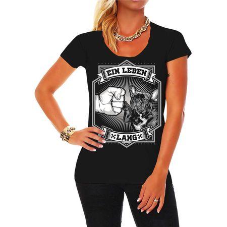 Frauen Shirt Französische Bulldogge - Ein Leben lang