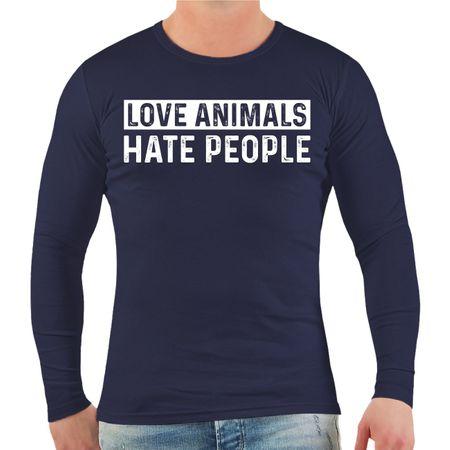 Männer Longsleeve Love Animals Hate People
