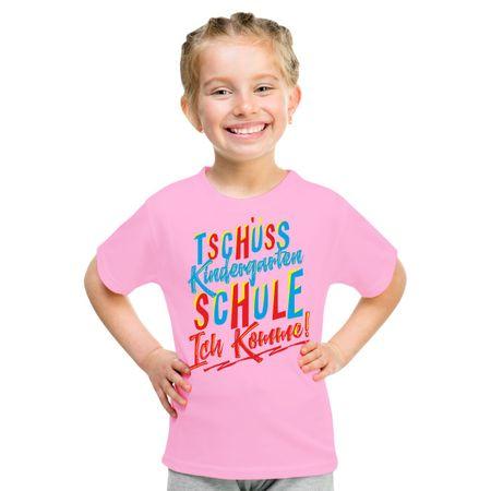 Kinder T-Shirt Tschüss Kindergarten SCHULE ICH KOMME Mädchen