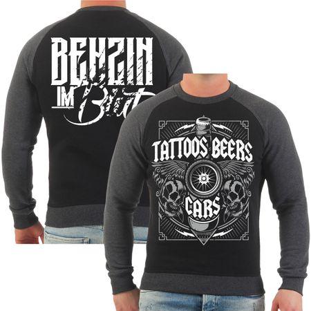 Männer Sweatshirt Benzin im Blut Tattoos Beers Cars