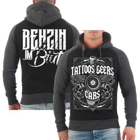 Männer Kapu Benzin im Blut Tattoos Beers Cars