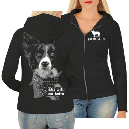 Frauen Kapujacke Border Collie HÜTEHUND